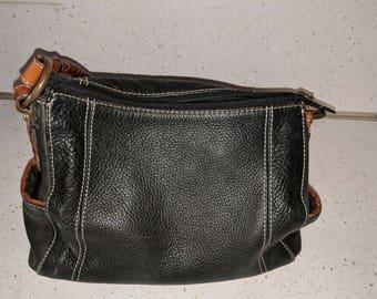 Vintage 1954 Fossil  Black Pebble shoulder bag