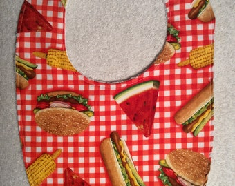 Picnic Baby Bibs with Hamburgers and Hot Dogs