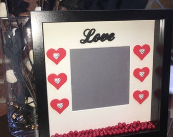 Love Heart Hand Decorated Box Photo Frame - Engagement - Wedding - Anniversary Gift