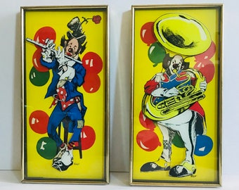 Rare Pair of Vintage Jim Roslof Framed Clown Prints