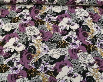 Viscose jersey 42-016-al-47 with floral print purple/Black