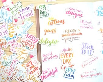 85pc Calligraphy Stickers, Short Phrases Stickers, Scrapbook Supplies