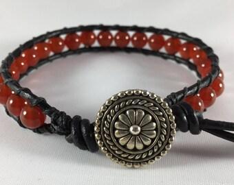 Leather Wrap Bracelet With Carnelian Beads