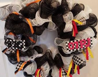 Black and white Racing mesh wreath