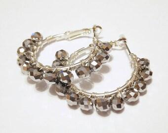 Earrings SILVER plated Czech crystal
