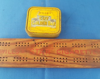 Will's Cigarettes Vintage Cribbage Board and Tobacco Tin