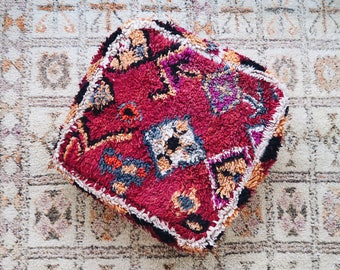 Rouge Eclectic Vintage Moroccan Floor Cushion Pouf Sofa Cover Boujaad Kilim