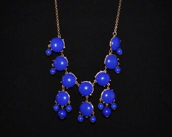 Blue retro statement necklace