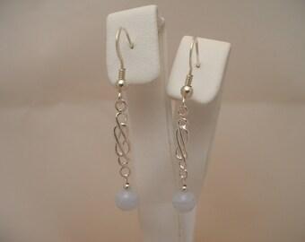 6mm Blue Lace Agate Sterling Silver Celtic Drop Earrings
