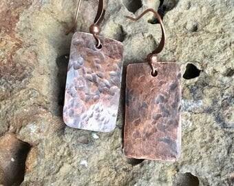 Rustic Rectangle Copper Earrings