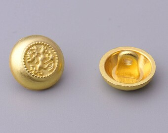 12pcs 12mm small gold button round button metal button embossed button vintage button