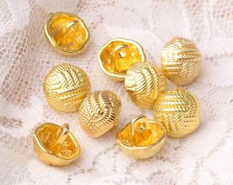 10pcs 11mm hemispheric button metal zinc alloy button gold shiny shank button