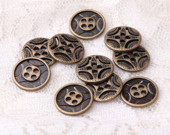 zinc alloy button 10pcs 12.5mm 4 holes button bronze vintage button shirt button