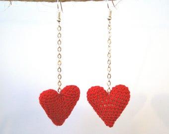 Long Heart Earrings. Crochet Earrings. Amigurumi Earrings. Gift for friend. Valentines day gift for her. Birthday gift for her.