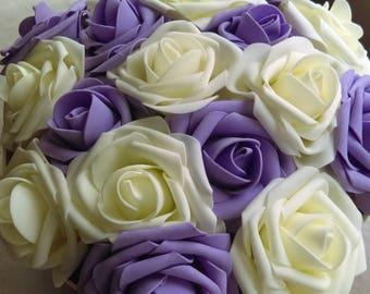 Large Beautiful vintage cream and black ivory and purple rosebox