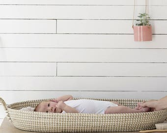 Handwoven Natural Seagrass Baby Changing Moses Basket. Nursery Decor.