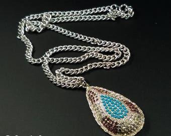 Vintage Sarah Coventry Large Teardrop Pendant Necklace, Signed Sarah Coventry Jewelry, Sarah Coventry Rhinestone Shangri La Pendant Necklace