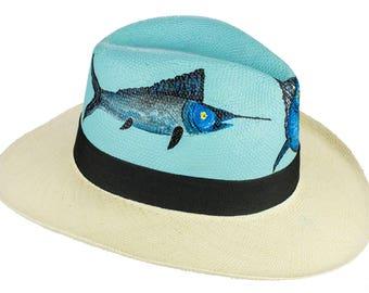 Hand painted Panama Hat  - Marilyn - Marlin fish