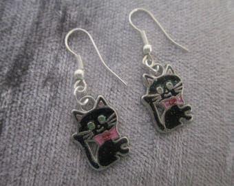 Cat enamel drop earrings