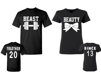 Beast Beauty Couple Tshirt ADD DATE BACK Together Since Back Side Black Tee Shirts