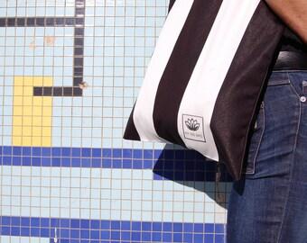 Tote Bag - striped black and white