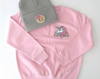 Kids Pink Unicorn Sweatshirt