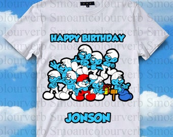 Smurfs Iron On Transfer, Smurfs Birthday Shirt DIY, Smurfs Shirt Designs, Smurfs Printable, Smurfs, Personalize, Digital Files