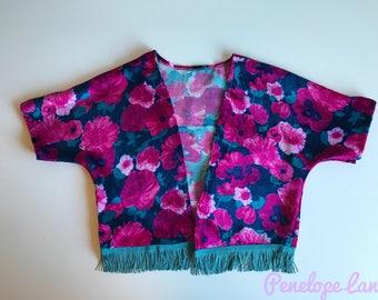 Floral Kimono , Kids Kimono , baby kimono , girls kimono , velvet kimono , vintage fabric