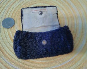 Vintage Black Bead Coin Purse ~ Made in France