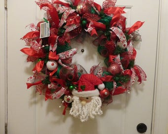 Santa Claus Wreath, Santa Christmas Wreath, Santa Door Wreath, Front Door Decor
