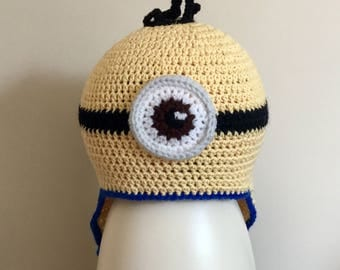 Minions novelty handmade crochet boys/girls hat