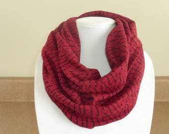 Burgundy and black infinity scarf
