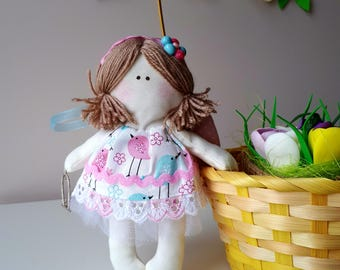 Angel.Textile doll.Floral Angel.Handmade doll.Collector doll.