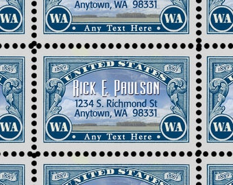 Custom Return Address Labels - Gummed and Perforated like classic stamps.