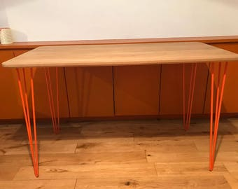 Solid wood Hairpin desk, Oak 20mm thick bevelled edged multi coloured hairpin legs