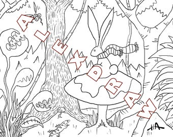 coloring art therapy Bunny mushroom tree jungle mosquito