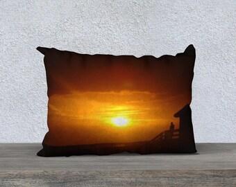 Beach Pillow Case, Beach Decor Coastal, Decorative Pillowcase, Sunset Pillow, Accent Pillow, Beach Decor Case, Sofa Pillow, Throw Pillowcase