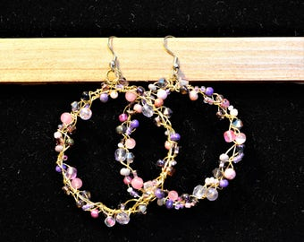 Pink/Purple Woven Wire Hoop Earrings