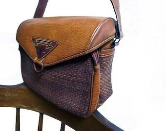 Fiber Street VINTAGE! 80s 90s vintage leather woven bag