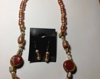 Terra cotta Necklace and Earring set