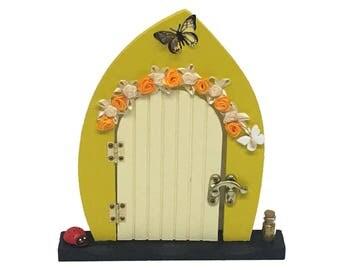Fairy Door (Lemon Burst and Sunshine Yellow with Butterfly, Flowers, Ladybird & Fairy Dust)