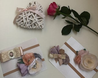 Set of two baby (0-3 months) headbands - flower/bow
