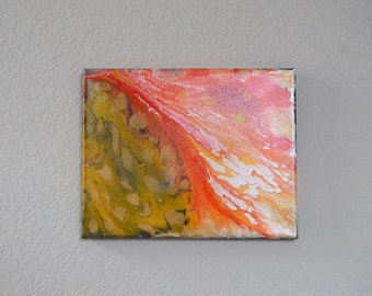 Small/Orange Yellow / Acrylic Pour/Acrylic Flow/Art/Abstract/Original/Artwork/Stretched Canvas/Varnished/Glossy/8*10