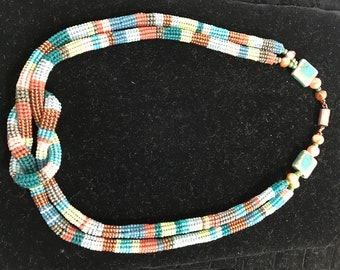 coral, blues and copper herringbone knotted necklace