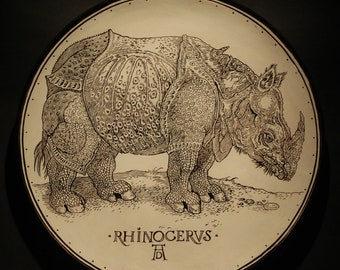 "Handmade plate ""RHINOCERVS"" in classic art design"