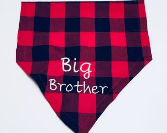 Big Brother, Gender Reveal, Dog Bandana, Buffalo Plaid, Pregnancy announcement, Dog lovers gift, Over the Collar, Dog gift, Christmas gift