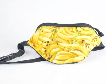 Fanny pack Banana fabric - Cute  - Hip Waist Bag - 2 Zippers