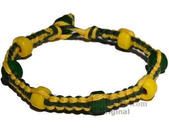 Yellow and green flat hemp bracelet or anklet with yellow and green glass beads