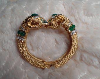 Iconic Double Headed Ram Bracelet Signed Cadoro-1960's