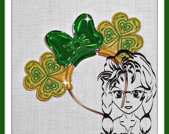 SHaMROCK CLoVER St PaT Inspired (3 Piece) Mr Miss Mouse Ears Headband ~ In the Hoop ~ Downloadable DiGiTaL Machine Emb Design by Carrie